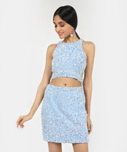 Load image into Gallery viewer, Frozen Sequins Cut Crop Top