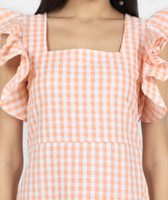 Load image into Gallery viewer, Peach Ruffled cotton dress