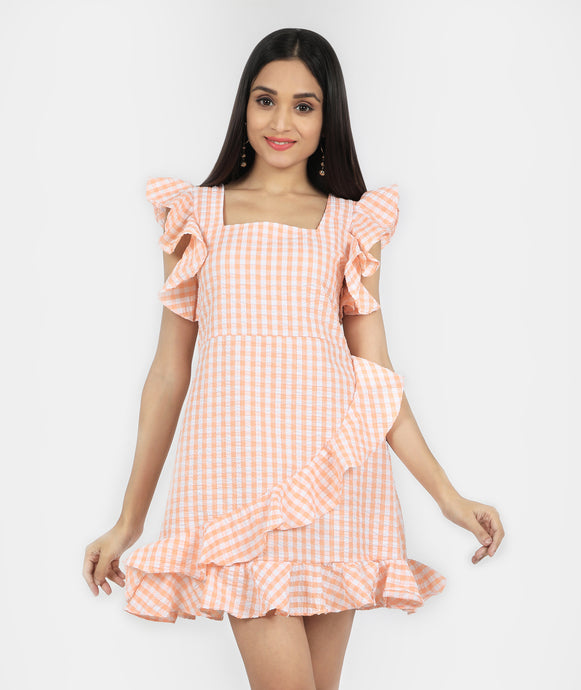 Peach Ruffled cotton dress