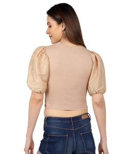 Nude Ribbed Puffed Top