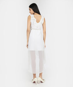 White Asymmetric Flowy Dress