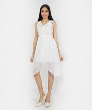 Load image into Gallery viewer, White Asymmetric Flowy Dress