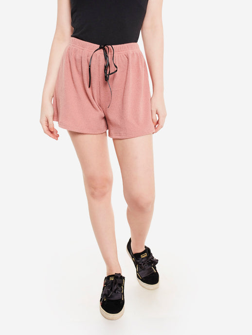 Peach Ribbed Lounge Shorts