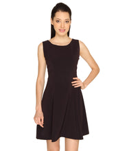 Load image into Gallery viewer, Pleated Wine Fit & Flare Scuba Dress
