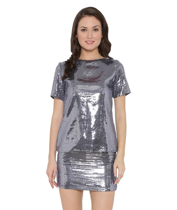 Grey Shiny Mini Skirt
