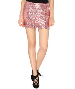 Pink Sequins Mini Skirt