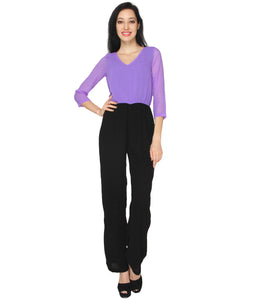 Purple Georgette Jumpsuit