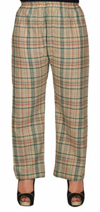 Beige Pyjamas With Green & Pink Checks