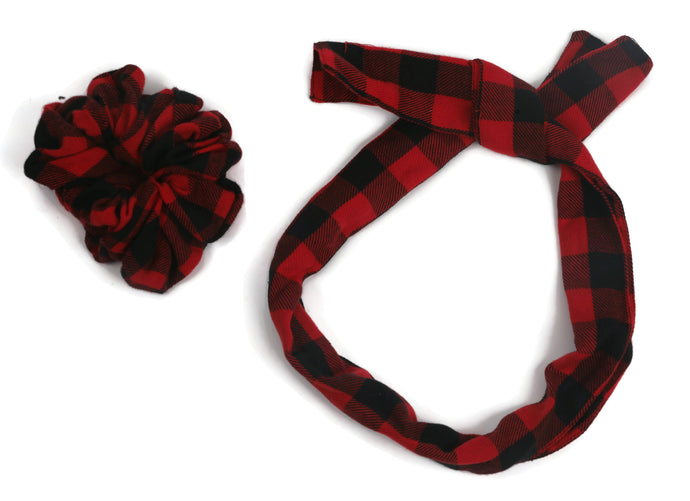 Red and Black checks scrunchy cum bandana