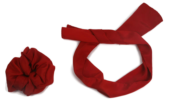 Red satin scrunchy cum bandana