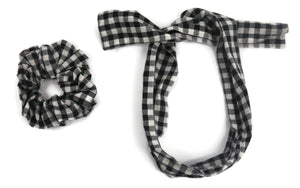 Black and White checks scrunchy cum bandana