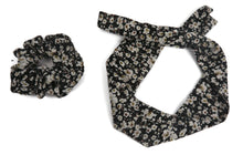 Load image into Gallery viewer, Black Floral print scrunchy cum bandana