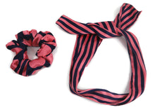 Load image into Gallery viewer, Black and Pink stripes scrunchies cum bandana