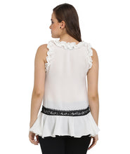 Load image into Gallery viewer, White Sleeveless Lace Frilled Top