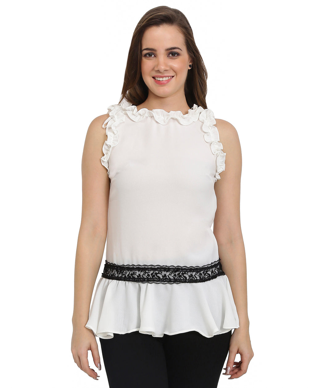 White Sleeveless Lace Frilled Top