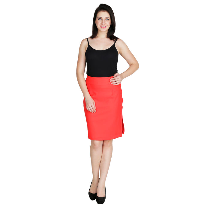 Red Pencil Bodycon Skirt