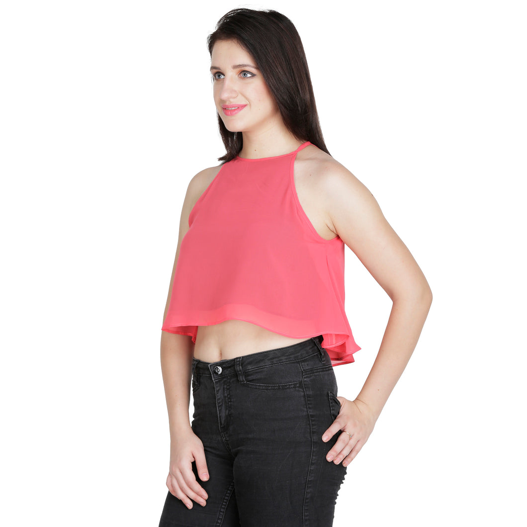Contrasting Pink Flared Crop Top