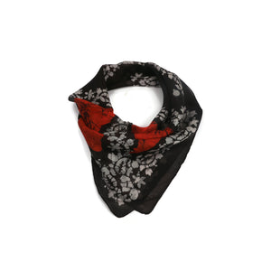 Black And Orange Print Scarf