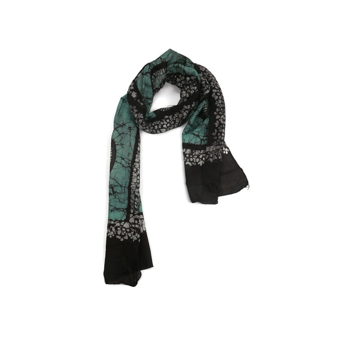 Black And Green Print Scarf