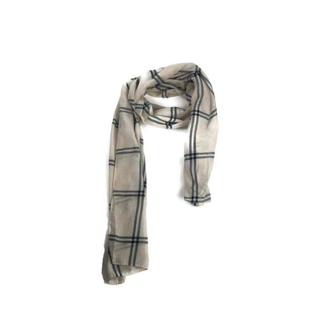 White and navy large checks scarf