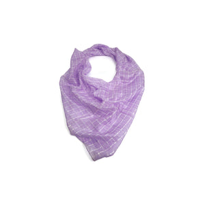 Purple and White Checks Scarf