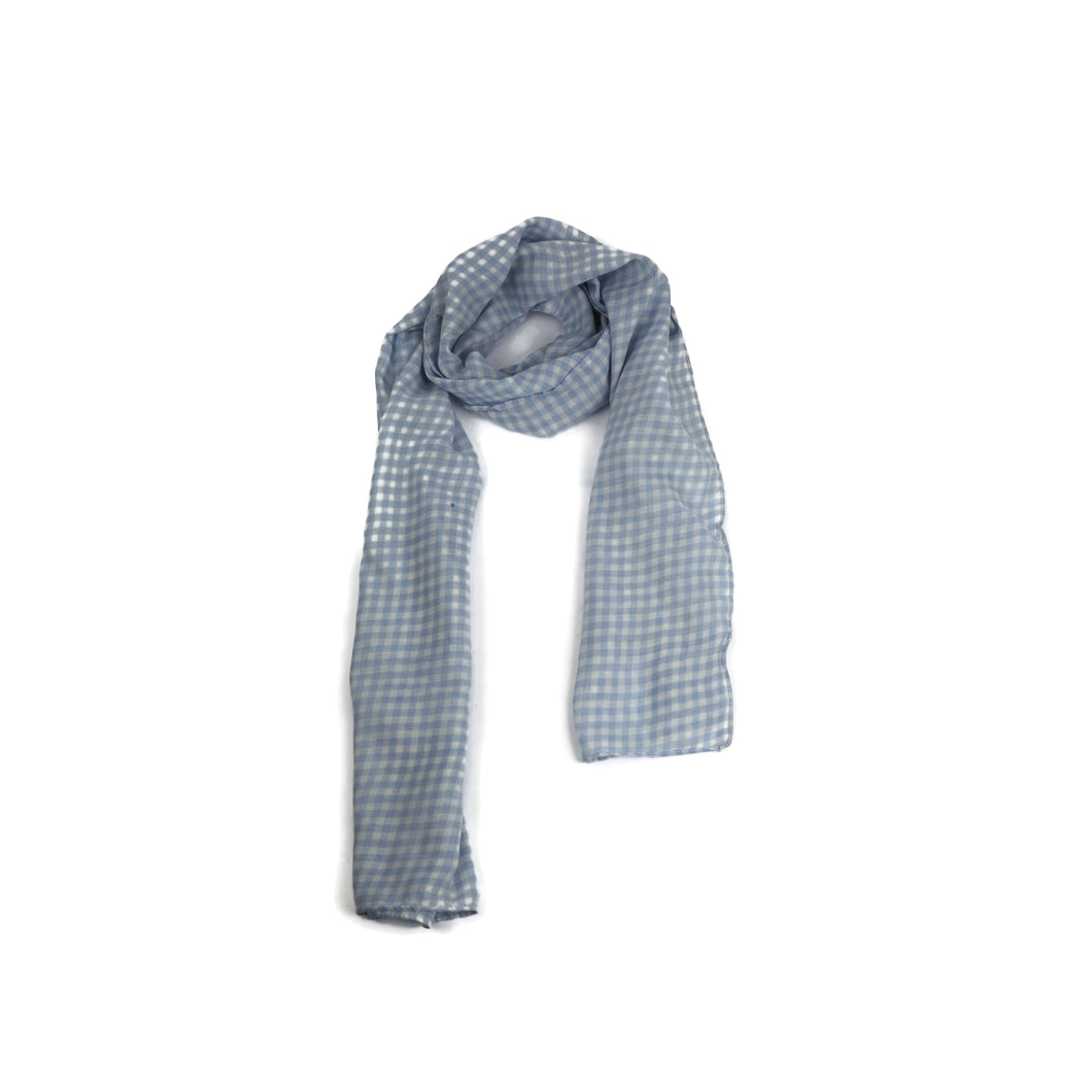 Powder Blue Checked Cotton Scarf