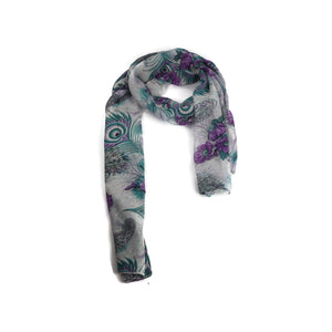 Grey Purple Floral Scarf