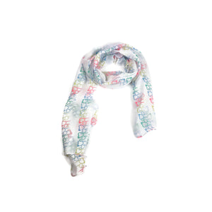 White Multicolour Hearts Scarf