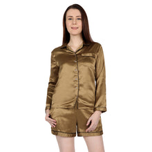 Load image into Gallery viewer, Golden Satin Nightsuit Set