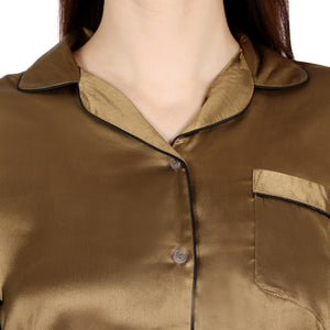 Golden satin night shirt