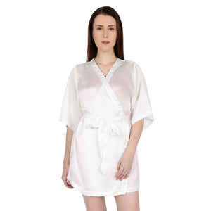 White Bride Satin Robe