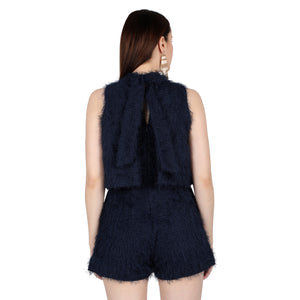 Midnight Blue Feather Jumpsuit