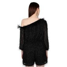 Load image into Gallery viewer, Black One shoulder feather Jumpsuit