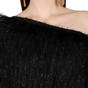 Black One shoulder feather Jumpsuit