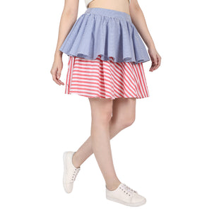 Dual Fabric Frilled Skirt
