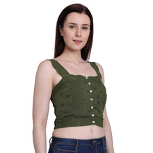 Load image into Gallery viewer, Olive Green Crop Top