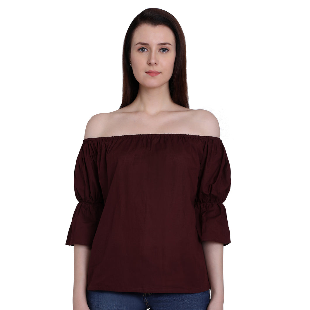 Maroon Off Shoulder Puffed Top