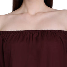 Load image into Gallery viewer, Maroon Off Shoulder Puffed Top