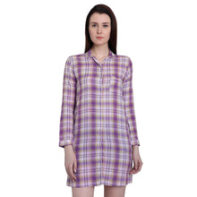 Load image into Gallery viewer, Purple Checks Night Shirt