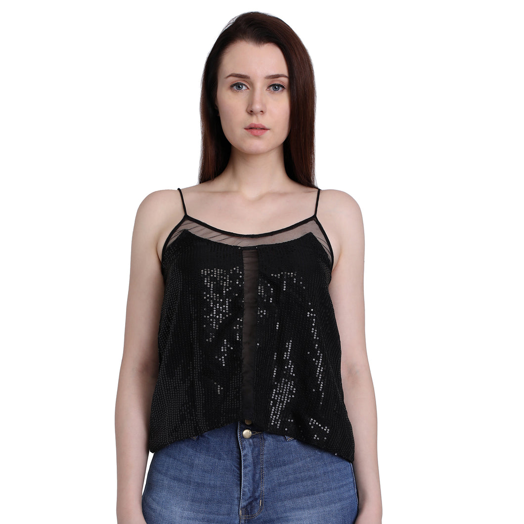 Black Sequins Camisole Top