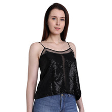 Load image into Gallery viewer, Black Sequins Camisole Top