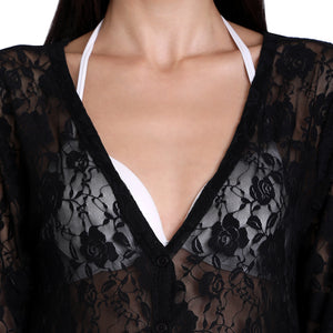 Black Net Button-Up Shrug