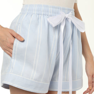 Blue Cotton Striped Shorts
