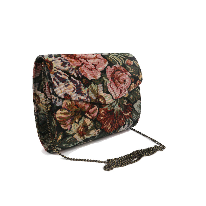 Retro Floral Printed Clutch