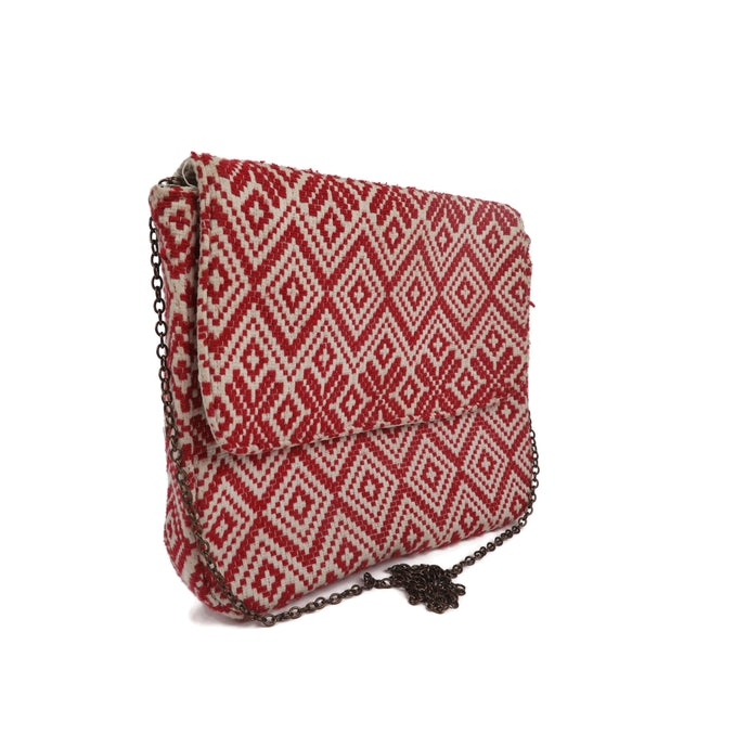Red Geometric Laptop Sling Bag
