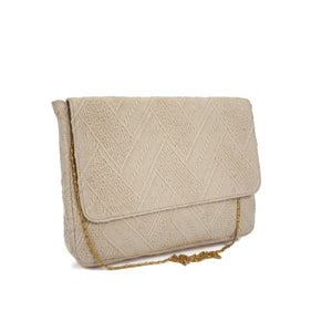 Cream Textured Laptop Bag