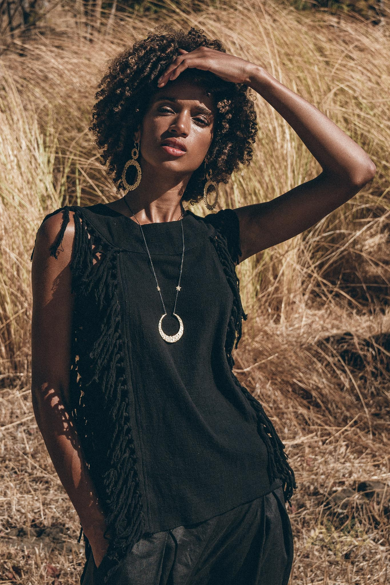Black Bohemian Top with Tassels Sides - AYA Sacred Wear