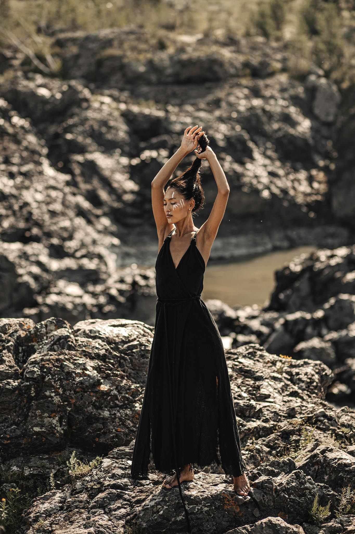 Black Cotton Bohemian Wedding Dress - AYA Sacred Wear