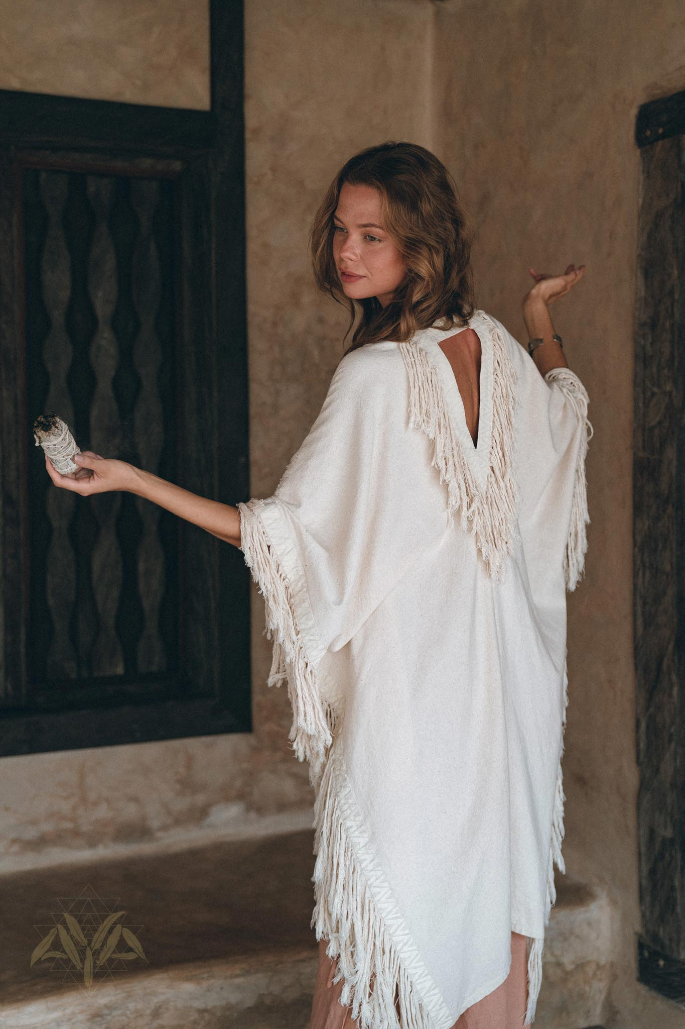 Off-White Cardigan • Boho Poncho Women Fringed • Wide Sleeve Women Cardigan - AYA Sacred Wear
