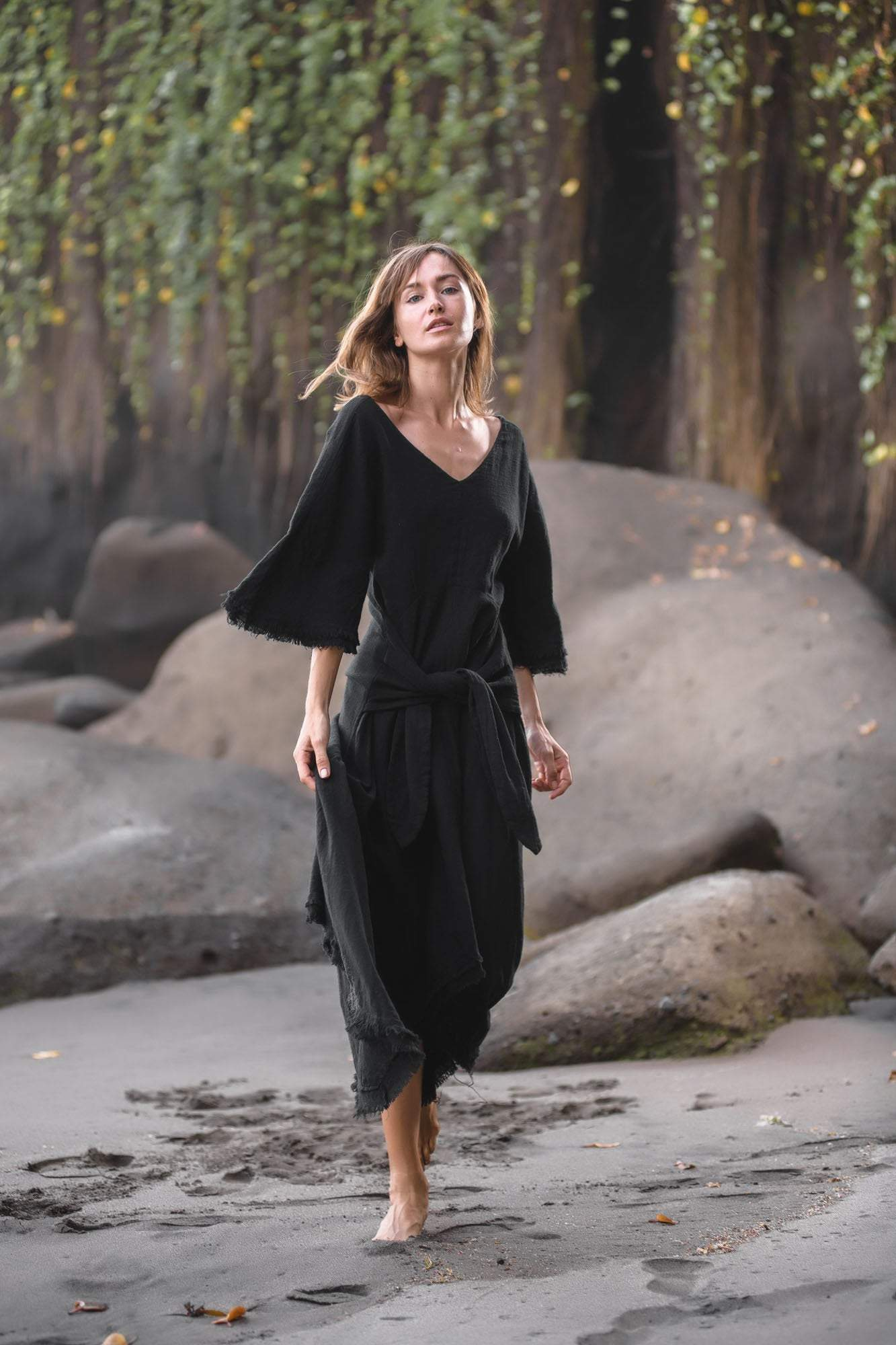 Black Cotton Dress for Women Tribal Dance Dress - AYA Sacred Wear